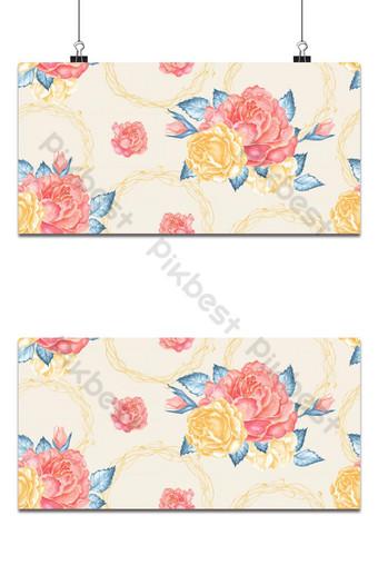Ramo de rosas naranjas sin costuras sobre fondo pastel Fondo de diseño de tela elegante de peonía vintage Fondos Modelo PSD