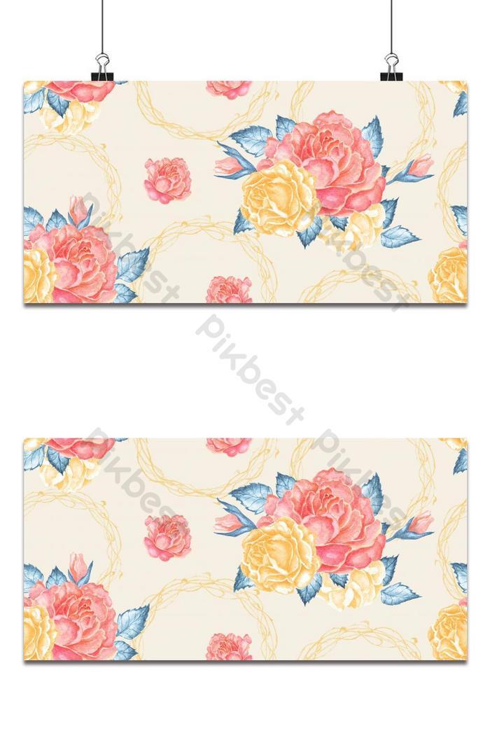 पेस्टल पृष्ठभूमि पर निर्बाध नारंगी गुलाब का गुलदस्ता विंटेज peony सुरुचिपूर्ण कपड़े डिजाइन पृष्ठभूमि