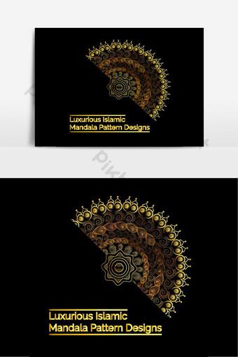 desain mandala islami mewah dengan pola gaya arab dengan gradien emas premium Elemen Grafis Templat EPS