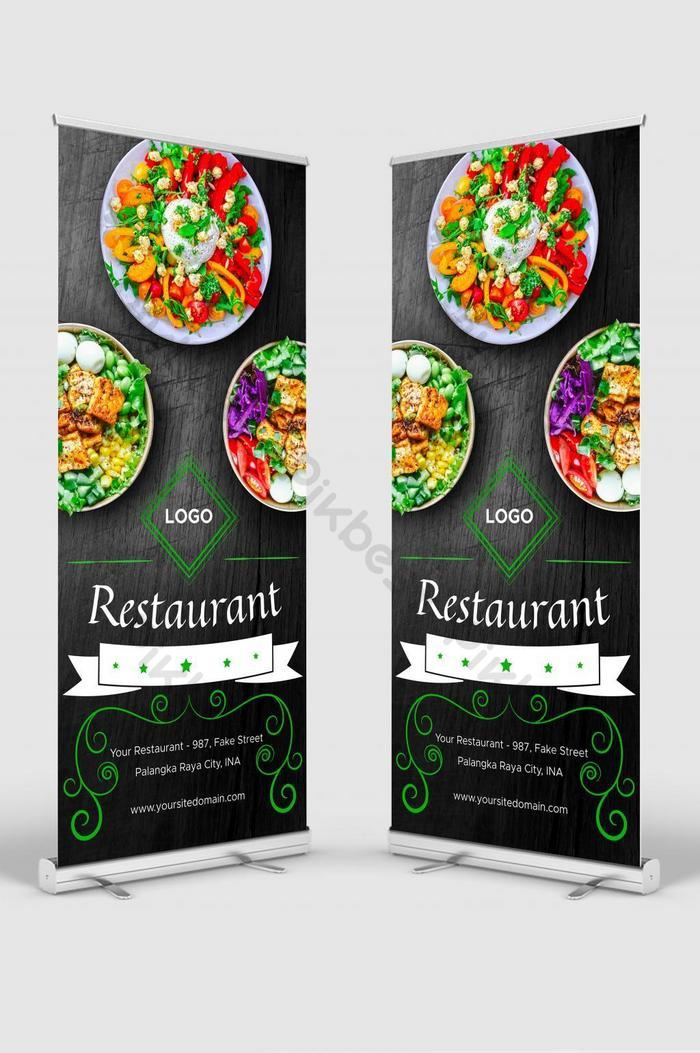 빈티지 스타일의 유연한 레스토랑 배너 롤업은 소셜 미디어에 사용할 수 있습니다.