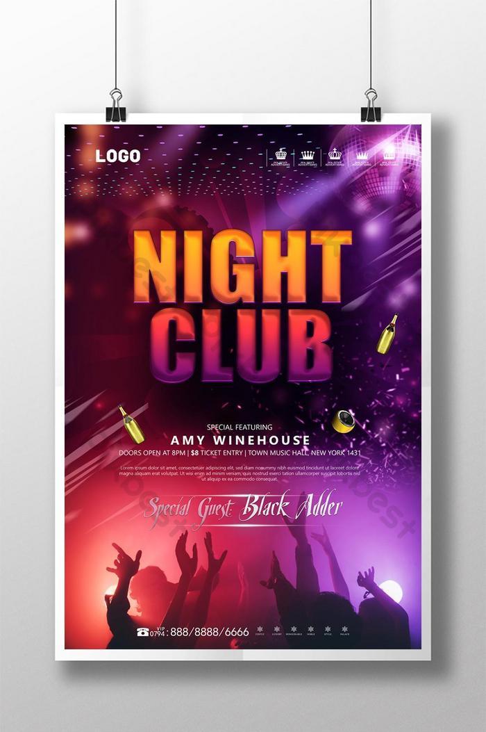kolorowy fajny bar nocny klub muzyczny szablon plakatu imprezy