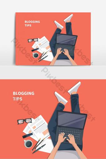 Rédaction d'une histoire ou d'une colonne pour un concept de journal ou de magazine pour site Web Éléments graphiques Modèle EPS