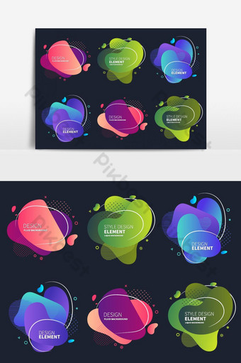 مجموعة من العناصر الرسومية الحديثة مجردة صور PNG قالب EPS