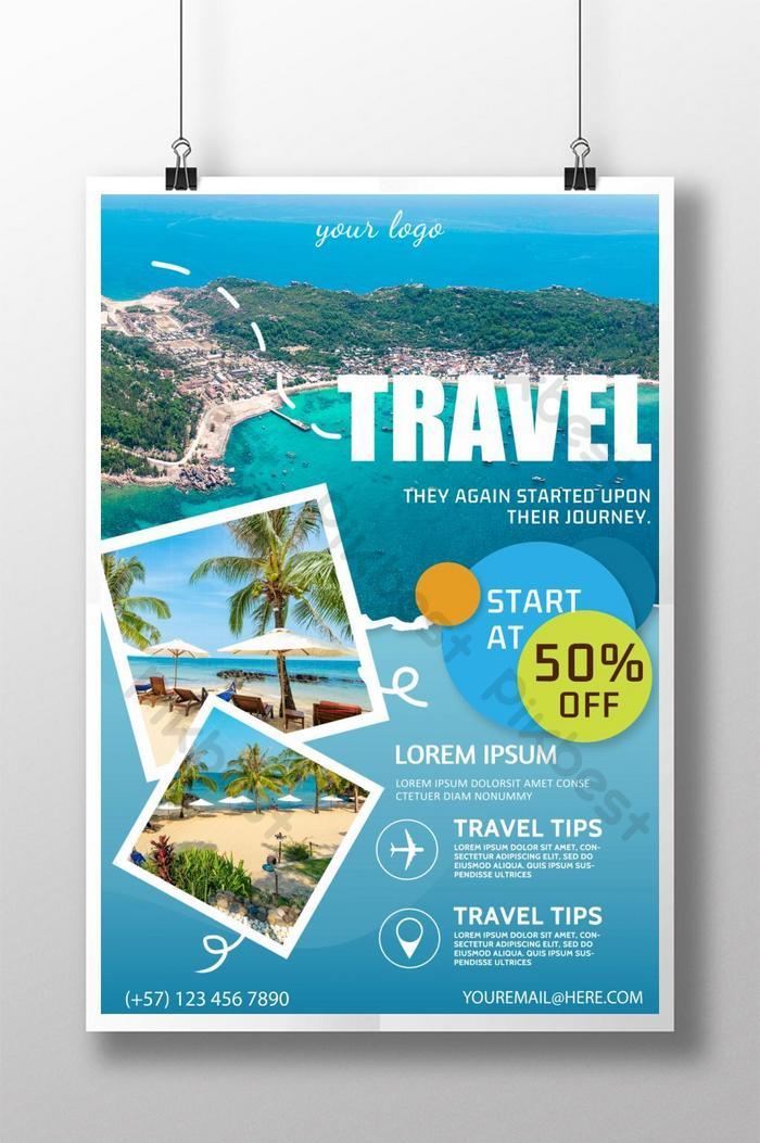 niebieski plakat promocyjny podróży