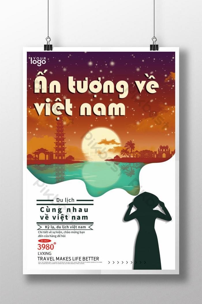 traditionelles vietnamesisches retro-reiseplakat