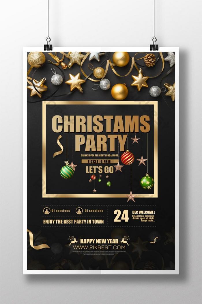 schwarzgold-weihnachtsfeierplakat