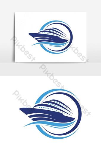 barco logo icono de barco de vela náutico diseño vectorial barco logo Elementos graficos Modelo AI