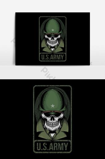 elemento gráfico de vector de cráneo u s ejército Elementos graficos Modelo EPS