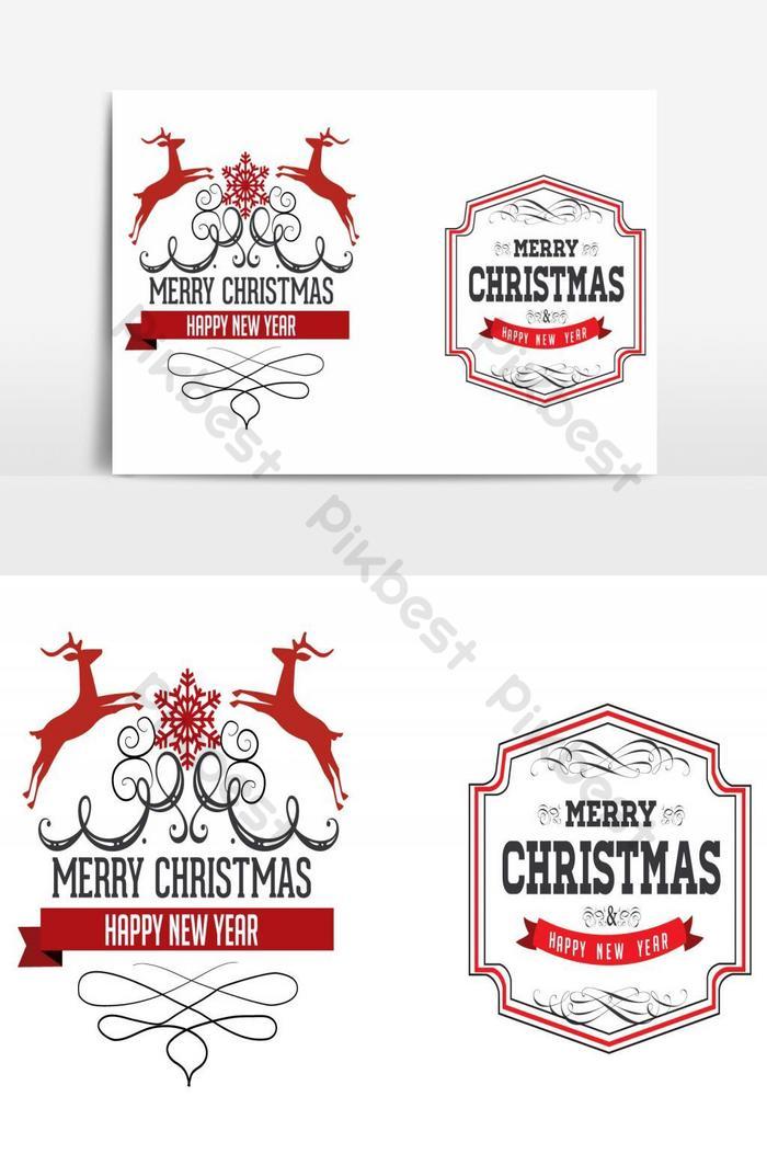 मेरी क्रिसमस डिजाइन वेक्टर तत्व
