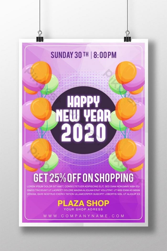 abstrak poster diskaun selamat tahun baru 25 peratus