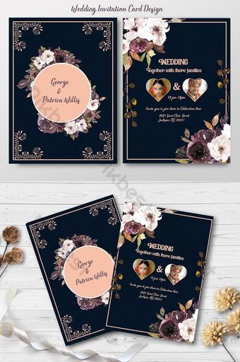 plantilla de tarjeta de invitación de boda Modelo PSD