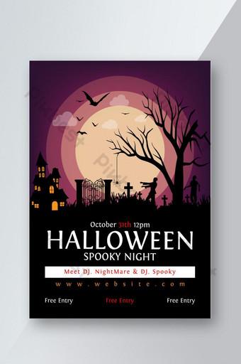 Flyer de nuit fantasmagorique d'Halloween Modèle AI