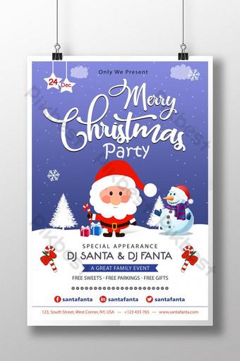 cartel de santa claus de nieve azul de fiesta de navidad Modelo PSD