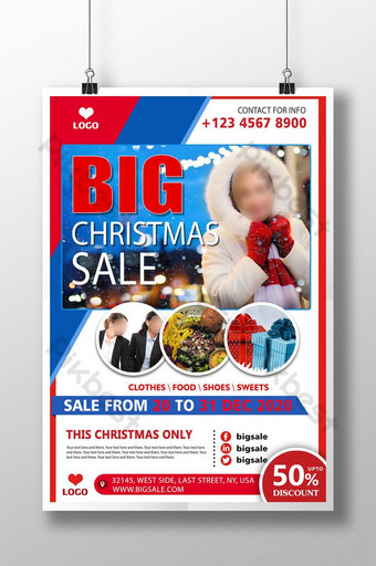 cartel de psd rojo azul de gran venta de navidad Modelo PSD