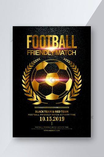 design de folheto de evento de jogo de futebol de vento ouro preto Modelo PSD