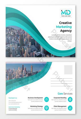 Modèle de conception de carte postale d'entreprise créative impression abstraite d'entreprise Modèle AI