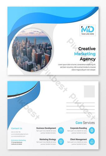 Modèle de conception de carte postale d'impression abstraite d'entreprise créative Modèle AI