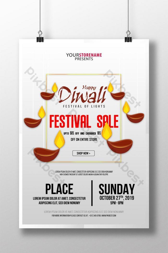 selamat poster jualan festival diwali poster jualan cahaya lilin
