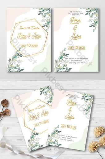 tarjeta de invitación de boda psd Modelo PSD