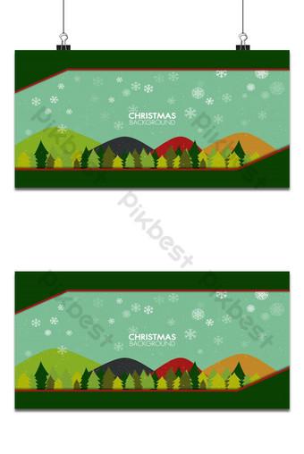 paisaje plano de temporada de invierno con fondo de árbol de navidad feliz año nuevo Fondos Modelo AI