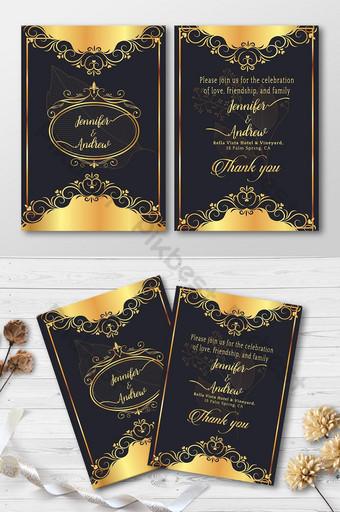 Carte d'invitation de mariage de style de luxe Modèle AI
