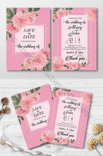 Conception de cartes d'invitation de mariage de style rose Modèle AI
