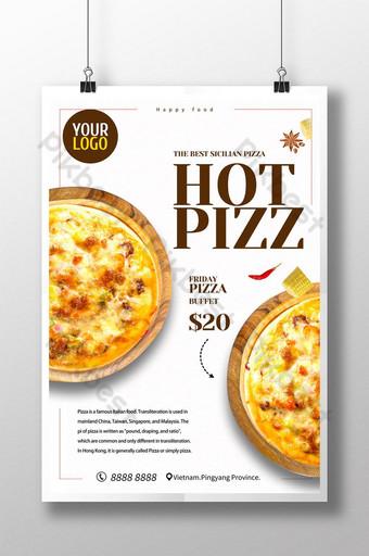 plantilla de promoción de cartel de pizza de comida de catering deliciosa blanca Modelo PSD