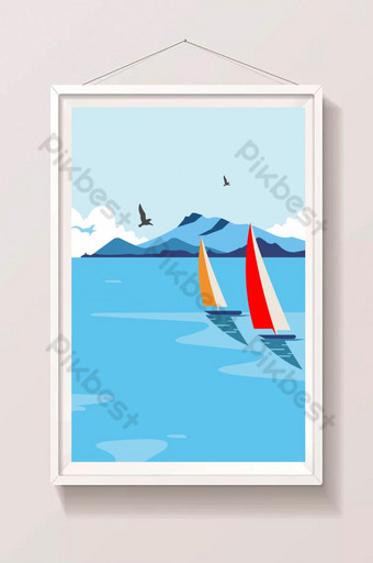 Very Nice Sea View Illustration With Birds Illustration Template AI