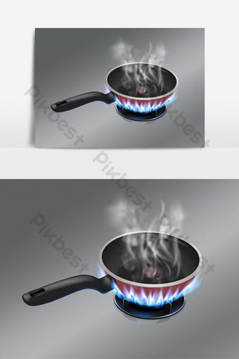 la sartén está tan caliente que hay humo en la sartén ubicada en una estufa de gas Elementos graficos Modelo EPS