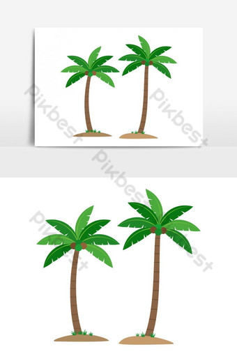 Coconut palm trees isolated vector graphic element PNG Images Template AI