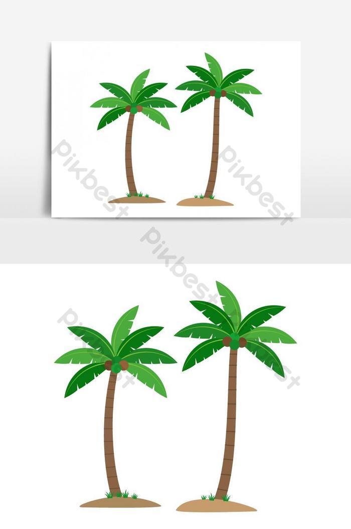 palmy kokosowe na białym tle element grafiki wektorowej