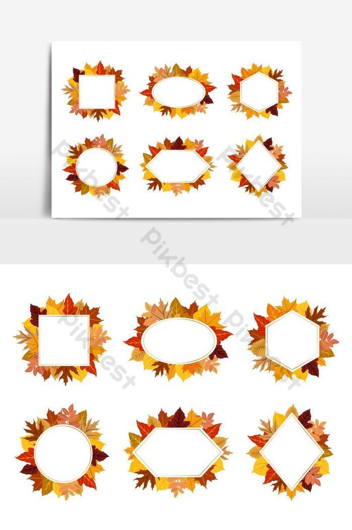 coleção de elementos gráficos de vetor de quadro de folhas de outono coloridas exóticas