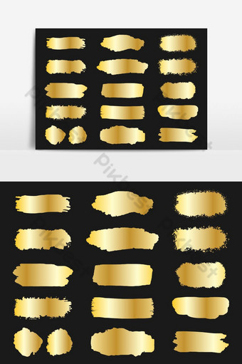 colección de vector de trazo de pincel dorado grunge conjunto elemento gráfico vectorial aislado Elementos graficos Modelo AI