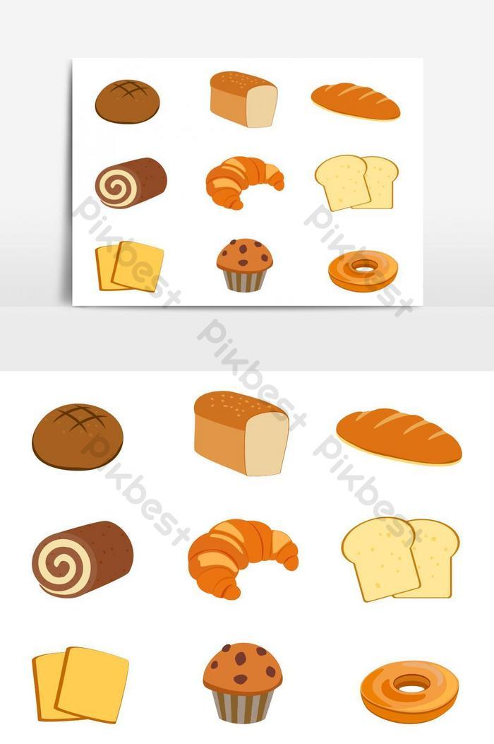 ताजा बेकरी सेट का संग्रह पृथक वेक्टर ग्राफिक तत्व