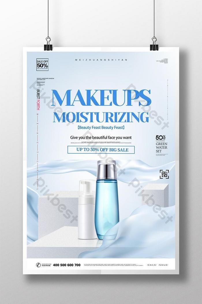 modelo de pôster promocional de cosméticos para cosméticos da blue fresh beauty