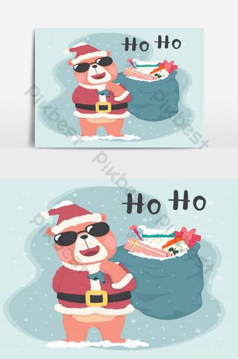 لطيف الدب البني سانتا ارتداء النظارات الشمسية وعقد كيس من الهدايا بطاقة عيد ميلاد سعيد صور PNG قالب AI