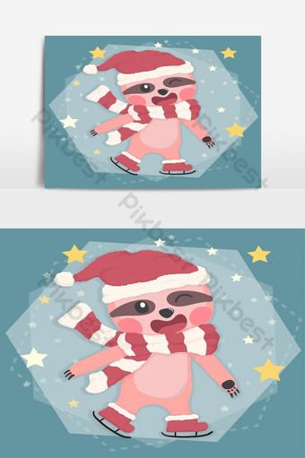 lindo perezoso feliz en traje de invierno navidad patinaje en estrella cayendo dibujos animados de vector plano Elementos graficos Modelo AI