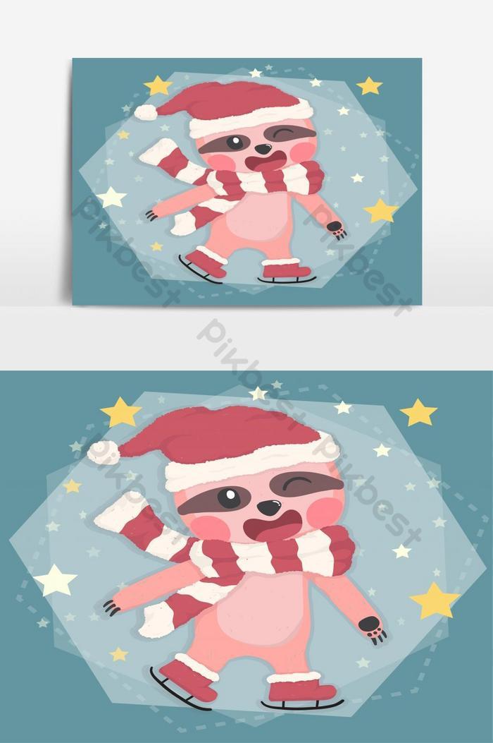 fofa preguiça feliz com fantasia de inverno patinação de natal em desenho vetorial plana estrela caindo