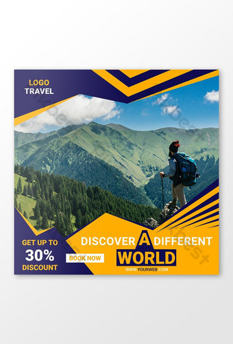 plantilla de diseño de publicación de redes sociales de viajes Modelo AI