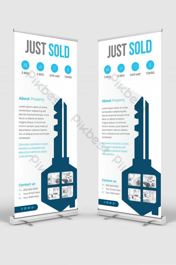 imobiliário roll up banner signage standee vector
