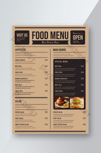 plantilla de diseño de menú de comida de restaurante Modelo PSD