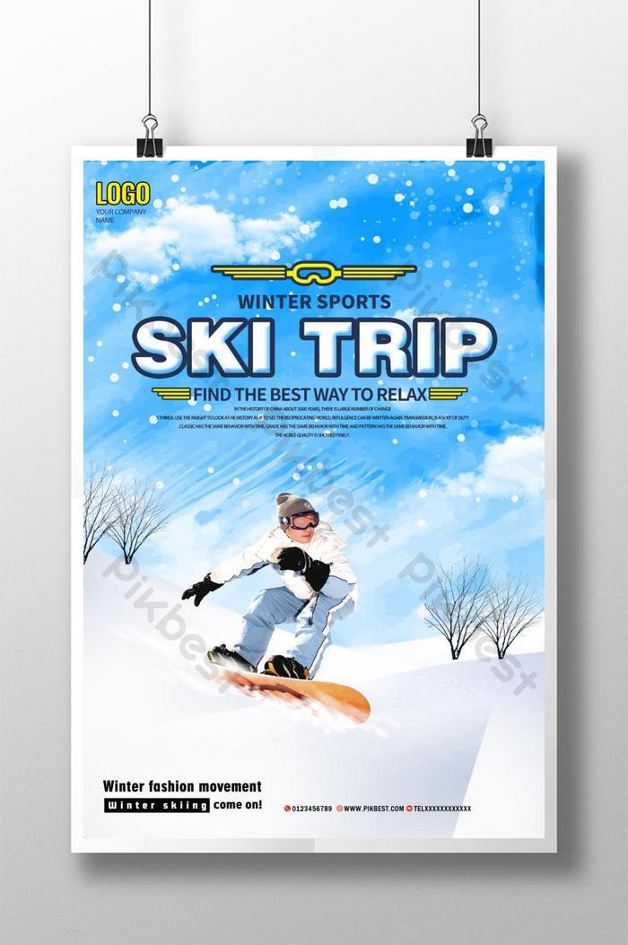 affiche de ski d'hiver minimaliste élégant et moderne