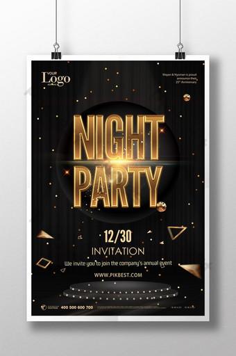 Mẫu poster quảng cáo tiệc mừng sự kiện sang trọng bằng vàng đen Bản mẫu PSD