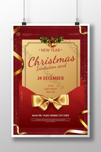 Modello rosso del manifesto dell'opuscolo della lettera dell'invito di celebrazione della festa di Natale Sagoma PSD