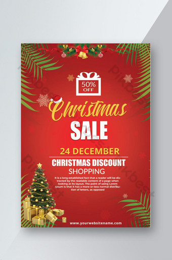 Flyer de vente de Noël Modèle PSD