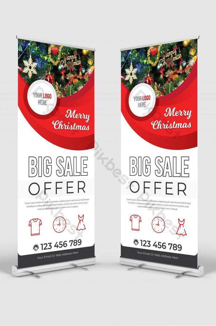 メリークリスマス販売オファーロールアップバナーサイネージスタンドベクトル