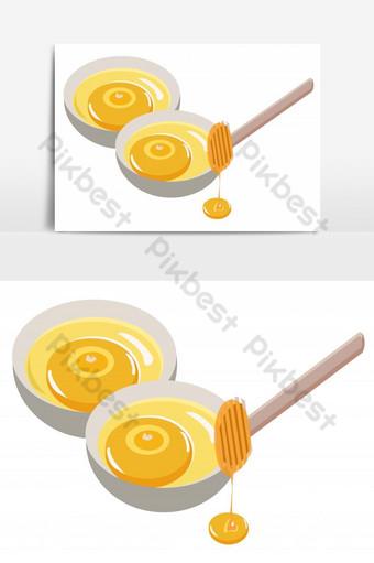 أطباق لذيذة من العسل مع عصا معزولة عنصر الرسم ناقلات صور PNG قالب PSD