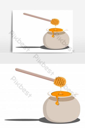 جرة العسل لذيذ مع عصا معزولة عنصر الرسم ناقلات صور PNG قالب PSD