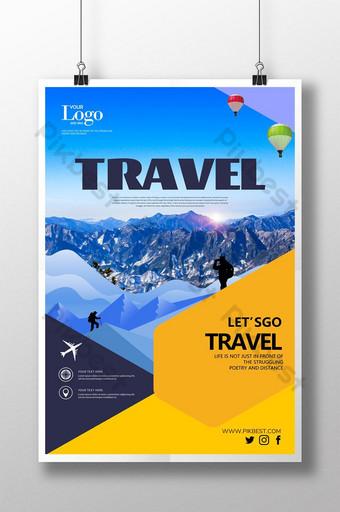 Modèle d'affiche de Flyer d'hiver de neige de paysage de tourisme de voyage géométrique Modèle PSD