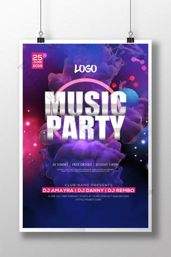 Modèle d'Affiche de festival de musique de soirée de discothèque de bar coloré Modèle PSD